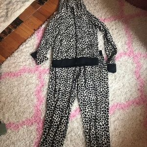 Lightly used juicy couture track suit leopard